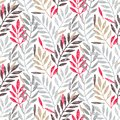Tropical palm leaves in grey, red and gold colors, seamless foliage pattern