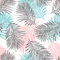 Tropical palm leaves, jungle leaves seamless vector floral pattern background.