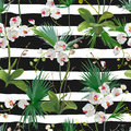 Tropical Palm Leaves and Orchid Flowers Background. Seamless Pattern