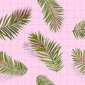 Tropical Palm Leaves Seamless Pattern. Jungle Floral Background. Summer Exotic Botanical Foliage Design with Tropic Plants