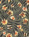 Palm leaves seamless pattern and plumeria flowers.