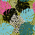 Tropical palm and monstera leaf seamless pattern with leopard skin texture. Hawaiian design, vector illustration
