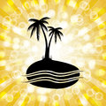 Tropical Palm Tree Silhouette Background with Orange Starburst. Royalty Free Stock Photo