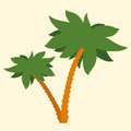 Tropical palm tree silhouette illustration of two trees with crowns of green fronds symbolic of a vacation and summer travel Stock Image