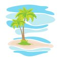 Tropical palm trees on the island Stock Images