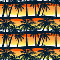 Tropical palms trees at sunset in a seamless pattern Royalty Free Stock Photo