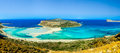 Tropical panoramic image of beach in the balos bay panorama lagoon Stock Images