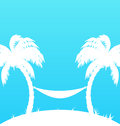 Tropical paradise background with palm trees and hammock illustration Royalty Free Stock Photo