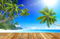 Tropical paradise beach and wooden plank floor Stock Images