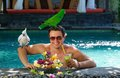 Tropical paradise handsome man enjoying his dream vacations luxury villa bali indonesia Royalty Free Stock Image