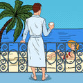 Tropical Paradise. Man Drinking Coffee at the Balcony and Looking at Beautiful Woman. Pop Art illustration Royalty Free Stock Photo