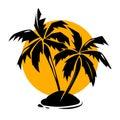 Tropical paradise palm trees and sun logo