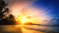 Tropical paradise sunset Royalty Free Stock Photo