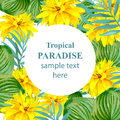 Tropical Paradise vector floral card. Summerl template design with palm leaves and exotic yellow flowers Royalty Free Stock Photo