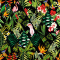 Tropical patchwork seamless pattern black