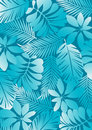 Tropical pattern aqua vector illustration of leaves Royalty Free Stock Photo
