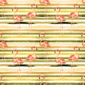 Summer Beach Background. Watercolor Seamless Pattern. Hand Painted Tropic Summer Motif with Flamingo and Stripe