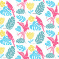 Tropical pattern with hand drawn leaves, exotic flowers and parrots. Hawaiian seamless texture, bright fabric design