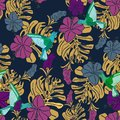 Tropical pattern with hummingbirds, palm leaves and hibiscus flowers