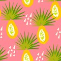 Tropical pattern with papaya and abstract elements on pink background. Ornament for textile and wrapping.