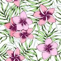 Pink plumeria and palm leaves seamless pattern