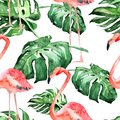 Watercolor Seamless Pattern. Hand Painted Illustration of Tropical Leaves and Flowers. Tropic Summer Motif with Tropical Pattern.