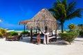 Tropical pavillion on the beach of Carribean sea Royalty Free Stock Photo