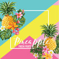 Tropical Pineapple Fruits and Flowers Summer Banner, Graphic Background, Exotic Floral Invitation, Flyer or Card