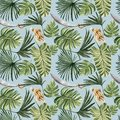 Tropical pirate jungle leaves seamless pattern blue