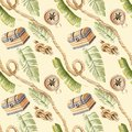 Tropical pirate jungle rope chest seamless pattern beige