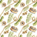 Tropical pirate jungle rope chest seamless pattern white