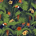 Tropical plants and birds seamless