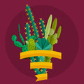 Tropical plants cactus vector set in flat style collection of blooming succulents modern green plant icons desert nature floral Stock Photos