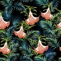 Tropical plants, exotic flowers and leaves seamless pattern on a white background. Vector illustration. Tropical lilies.