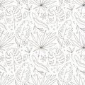 Tropical plants flat hand drawn seamless pattern. Natural cartoon texture. Organic botanical scandinavian illustrations.