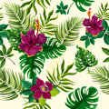 Tropical plants flowers seamless pattern Royalty Free Stock Photo