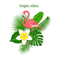 Tropical plants leaves flower arrangement with flamingo Royalty Free Stock Photo
