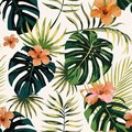 Tropical plants leaves flowers hibiscus seamless white backgroun