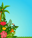 Tropical plants and parrots. Royalty Free Stock Photos