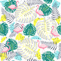 Tropical plants seamless pattern with flamingos.