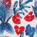 Tropical plants snow seamless pattern