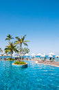 Tropical pool beside the sea shooting in samui Stock Images