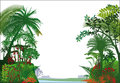 Tropical rainforest illustrated scenic view of a and river with a white background Stock Photos