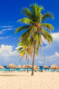 Tropical resort at a cuban beach Stock Photo
