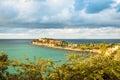 Tropical resort of Sint Maarten built near ruins of the Fort Ams