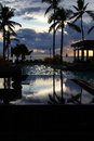 Tropical resort at sunset denarau island fiji beautiful pool Stock Photos