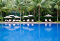 Tropical resort swimming pool in malaysia Royalty Free Stock Photos