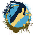 Tropical retro surf emblem with surfer s silhouette palm trees abstract waves and copy space Royalty Free Stock Images