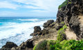 Tropical rocky ocean view in Mozambique coastline Royalty Free Stock Photo