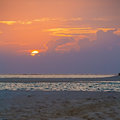 Tropical Sand Beach at Sunset, Maldives Royalty Free Stock Photography